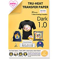 TransOurDream Tru-Iron on Heat Transfer Paper for Dark Fabric (20 Sheets, A4)Heat Press Transfer Paper for T Shirt…