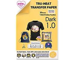 "TransOurDream Tru-Iron on Heat Transfer Paperfor Dark Fabric(20 Sheets, 8.5x11"") T shirt TransfersPaper for Inkjet Printer"