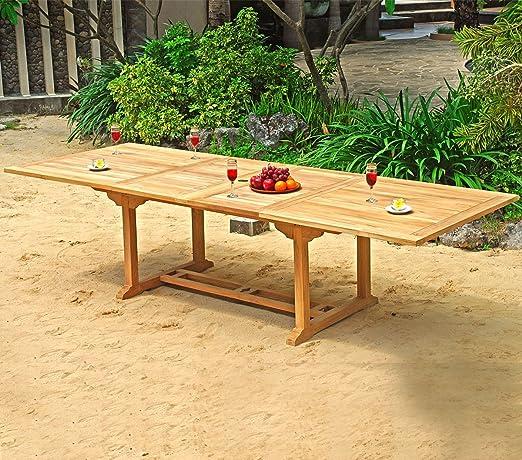 Table de jardin XXL en teck brut - double rallonge papillon ...