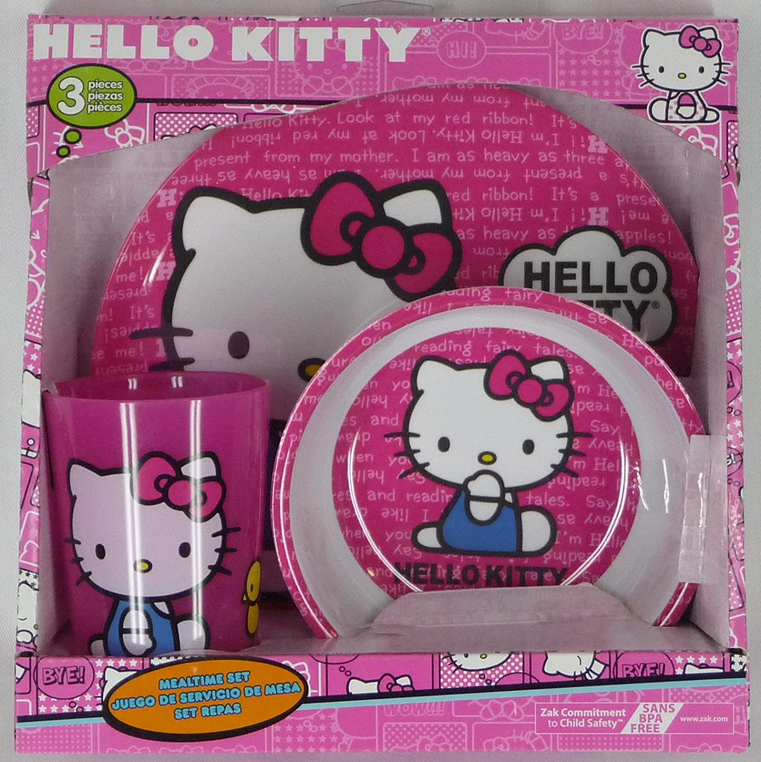 Amazon.com: Hello Kitty Mealtime Dish Set Bowl Plate Cup: Kitchen ...