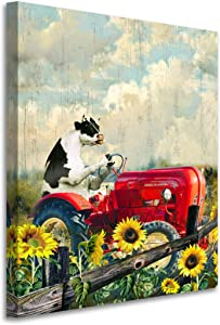 Kitchen Wall Art - Rustic Farmhouse Sunflower Floral Modern Painting cow with Big tractor Framed Wall Art Picture Print On Canvas The Giclee Artwork For Home Decor And Office Decorations 8X10INCH
