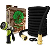 """LOVEL 50 Feet Garden Hose   Expandable Hose, Hose Nozzle 9 Settings, 3/4"""" Brass Fittings. Enjoy Watering With Your Flexible Hose, Quick Connect Water Hose For All Uses. Expands 3X, High Pressure"""