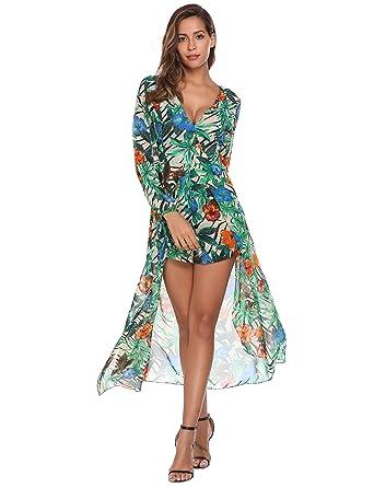 e026cac6834 Showyoo Women s Deep V Neck Chiffon Boho Jumpsuit Maxi Romper Dress Green