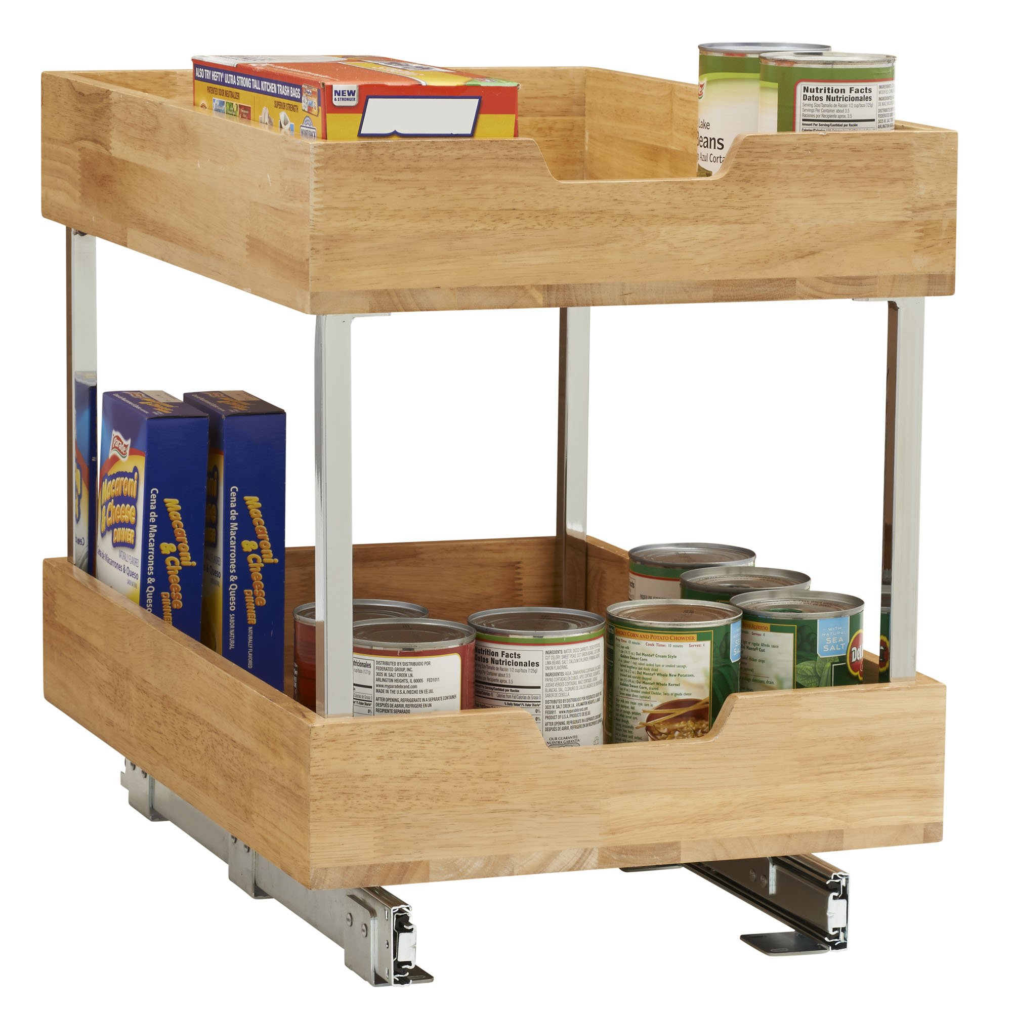 Household Essentials 24521-1 Glidez 2-Tier Sliding Organizer - Pull Out Cabinet Shelf - Wood - 14.5 Inches Wide by Household Essentials (Image #2)