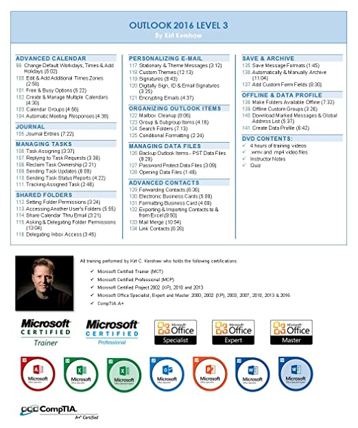 Amazon com: Outlook 2016 Training Videos - 14 Hours of
