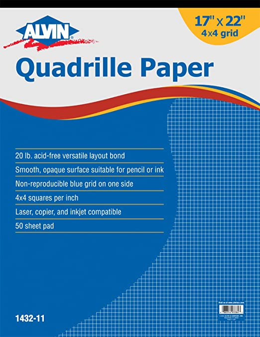 Amazon.Com: Alvin Quadrille Paper Grid Pad, Size 17 X 22 Inches