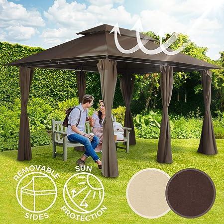 /Beige//Marron Miadomodo Pavillon de Jardin tonnelle Tente 400/x 300/x 280/cm de Choix de Couleur/