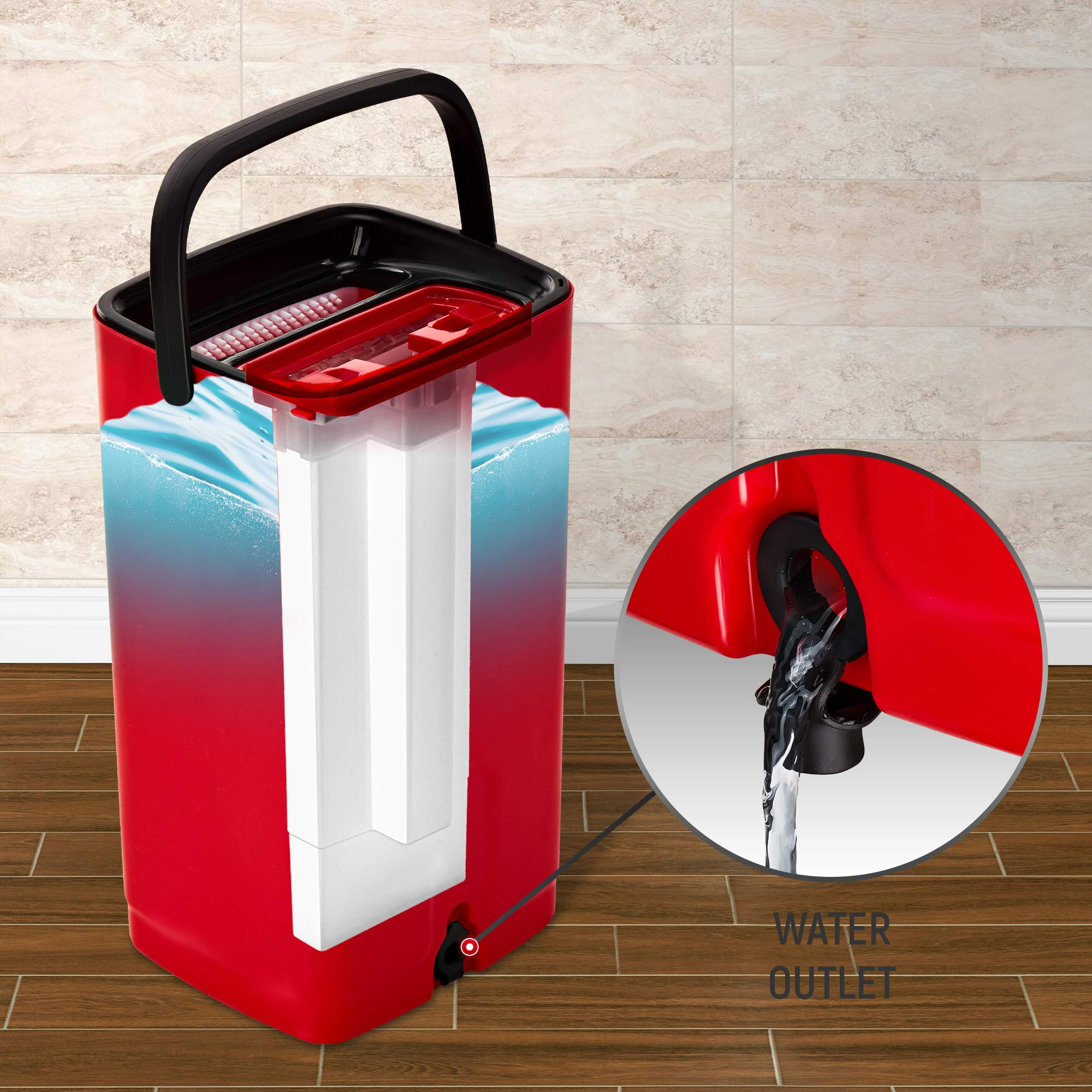 E-Day Smart Flat Mop Bucket with Wringer for Home Kitchen Floor Cleaning - Microfiber Mop System with Bucket and 2 Washable Mop Pads - Dry or Wet Floor Mop Set with Self-Cleaning System - Red by E-Day Smart (Image #5)