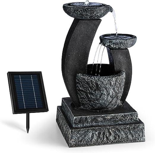 blumfeldt Fantaghiro Fuente Ornamental de jardín con Panel Solar (Efecto Piedra, poliresina, Juego de Agua 3 Niveles, diseño mágico, miniboma, iluminacion LED, para Interior o Exterior): Amazon.es: Jardín
