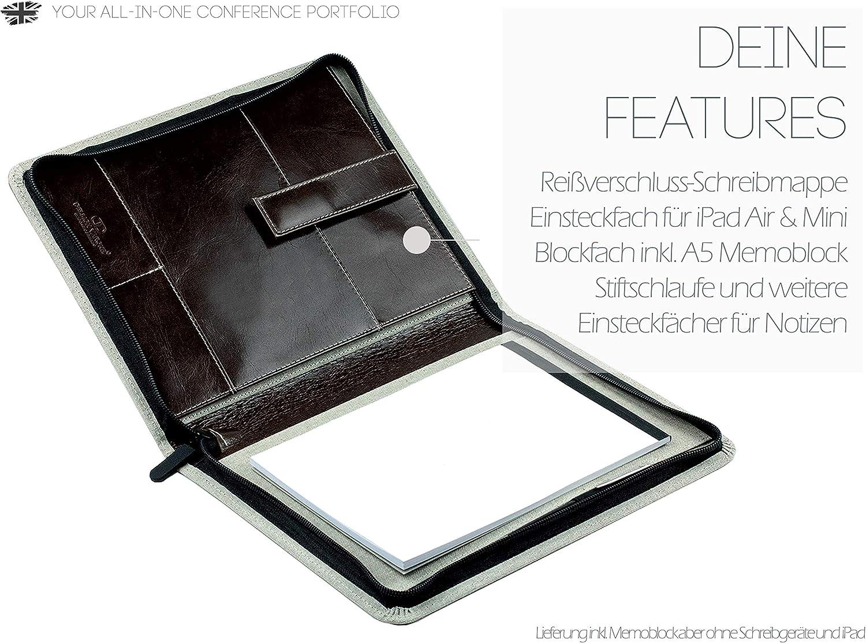 cartella organizer con blocco note DELMON VARONE Custodia da scrittura personalizzabile DIN A4 con scomparto per tablet in pelle marrone anilina premium portapenne e patta magnetica