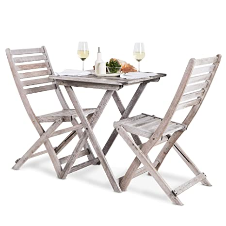Surprising Vonhaus Hardwood Bistro Set 2 Seater Wooden Folding Table And Chair Set With Distressed Antique Finish Solid Grey Wood Traditional Seat For Evergreenethics Interior Chair Design Evergreenethicsorg