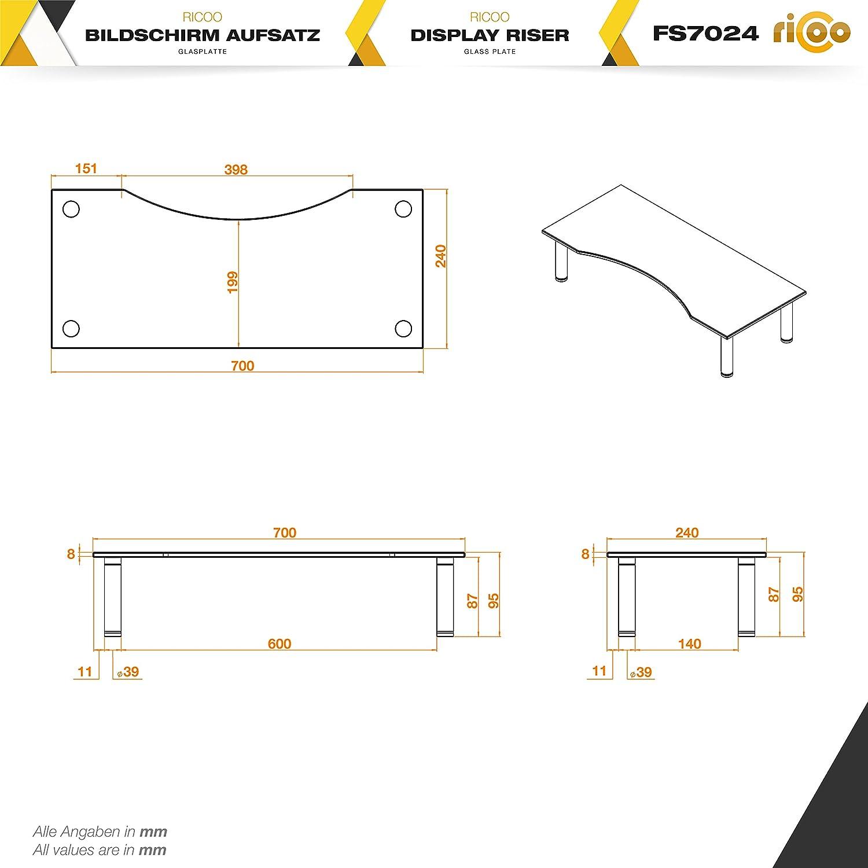 RICOO Meuble TV Design FS7024-B Support sur pied en verre moniteur suspension r/éhausseur /écran LED LCD Plasma QE OLED 3D 4K Smart socle de tele suspendu original t/él/éviseurs rack universel en Noir