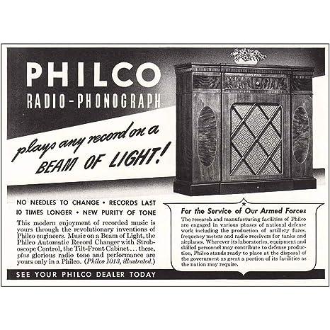 RelicPaper 1942 Philco Radio Phonograph Beam Of Light Print Ad