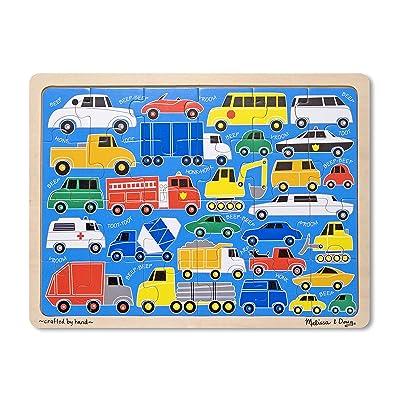Melissa & Doug Beep Beep Cars and Trucks Wooden Jigsaw Puzzle With Storage Tray (24 pcs): Melissa & Doug: Toys & Games