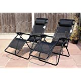LIVIVO ® Zero Gravity Reclining Garden Sun Loungers with Adjustable Padded Headrests and 2 FREE Clip On Side Tables – Relax in Comfort and Style with Cool Black Weather Resistant Textoline Fabric - Folding Lightweight Frame is Great for Travel – Perfect for Home, Garden, Patio, Decking, Holiday, Beach, and More. (Set of 2)