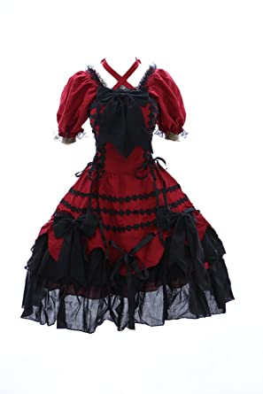 Kawaii-Story M de 3101 Rojo Negro Red Black Gótico Sweet Lolita Cosplay Vestido Dress