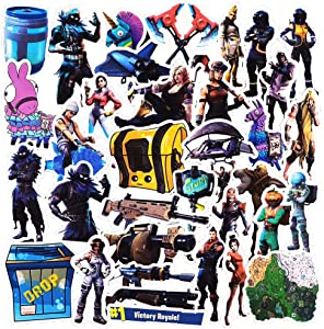 40 Pcs Funny Waterproof Vinyl Game Stickers for Fortnite,Trendy Arsthetic Stickers for Water Bottle Flasks Computer Laptop MacBook Wall Bike Ps4 Xbox Cup, Decals Pack for Kids Teens Boys Girls Adult