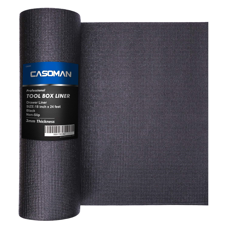 CASOMAN Professional Grade High Grip Tool Box Liner, Drawer Liner, and Shelf Liner, Black,18 Inch x 24 Feet, Easy Cut, Non-Slip Foam Rubber Toolbox Mat, Premium Non Adhesive Foam Mat, Tool Chest Liner
