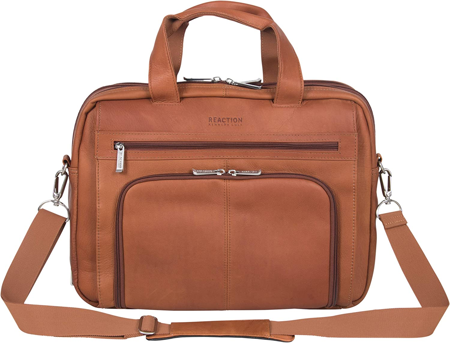 """Kenneth Cole Reaction Manhattan Colombian Leather Expandable RFID 15.6"""" Laptop & Tablet Briefcase Bag"""