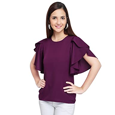 219f6e017a8a OOMPH! Women's Crepe Tank Top - Eggplant Purple: Amazon.in: Clothing ...