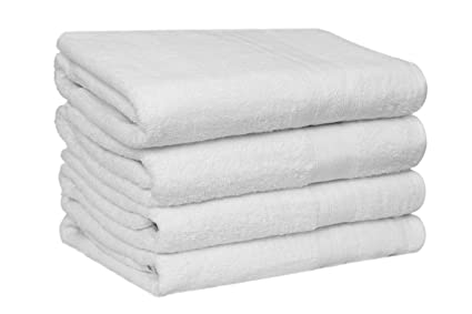 4 Pack, 27 x 54 Inch Premium 100/% Cotton White Bath Towel Set Lightweight High Absorbency Multipurpose Quick Drying Pool Gym White Towel Set by HomeLabels