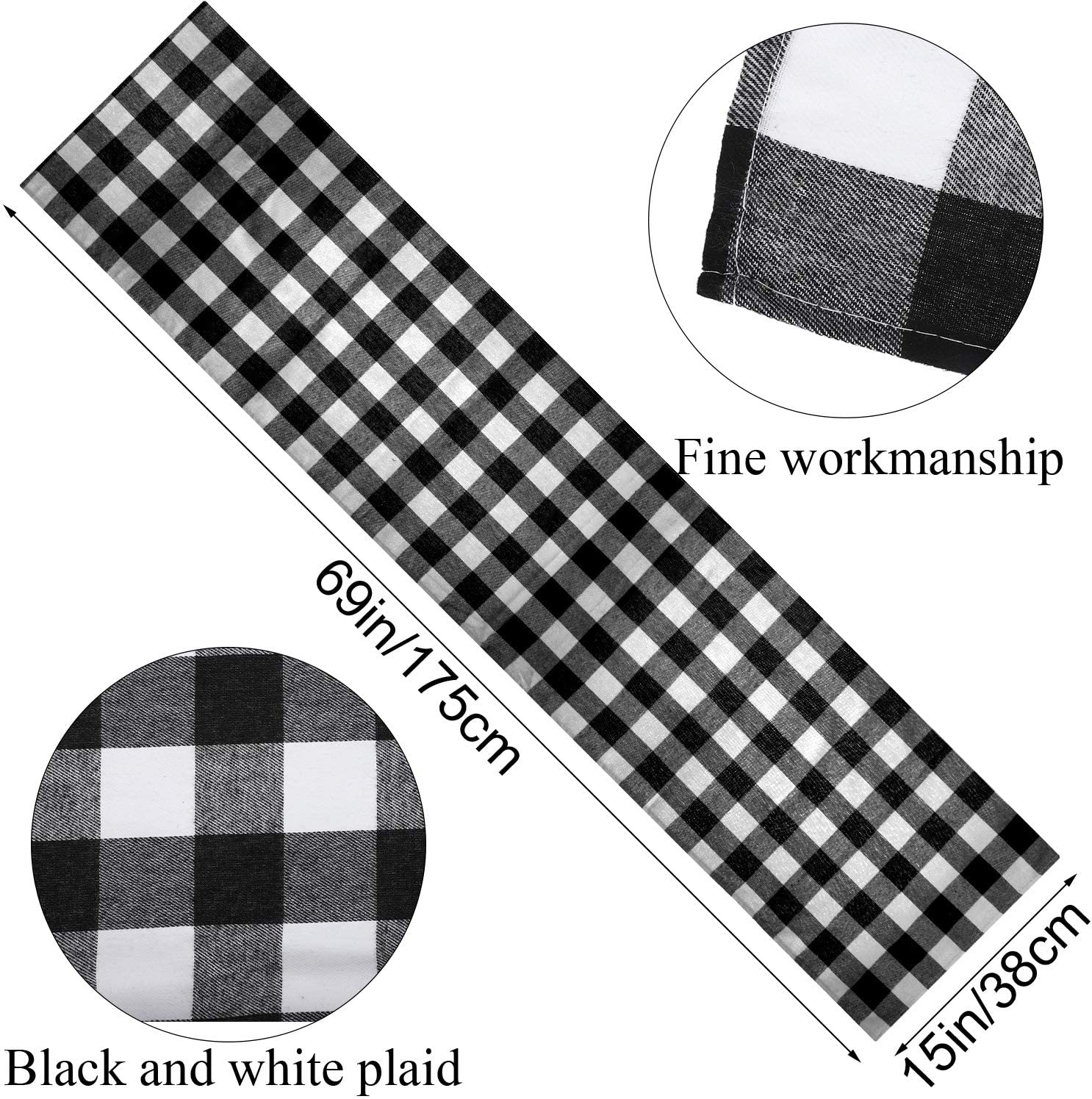Christmas Plaid Table Runner Cotton Table Linens and 6 Pieces Gingham Table Placemats for Holiday Gatherings Dinner Parties Christmas Table Decorations Red and Black