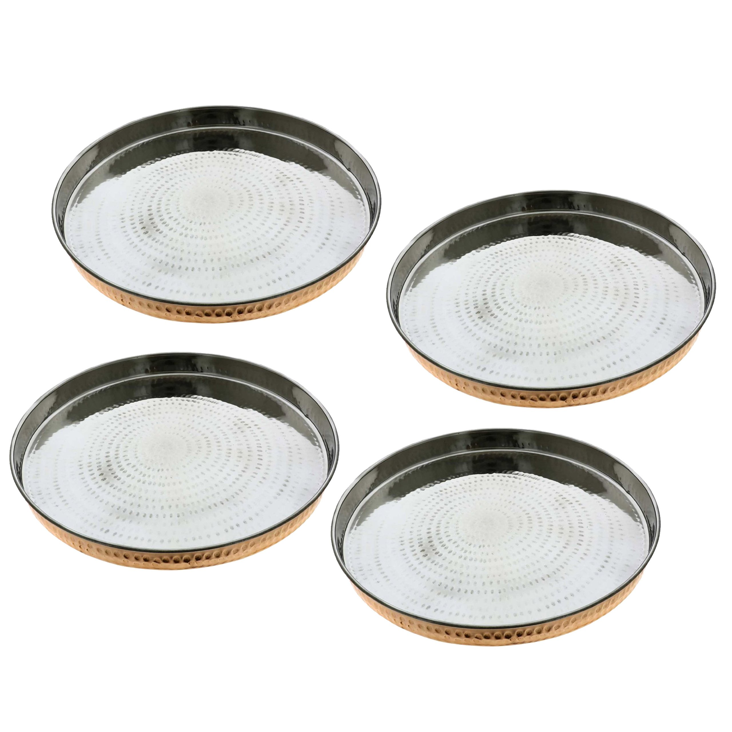 Set of 4, Dinnerware Accessories Copper Stainless Steel Large Dinner Plate Thali, Diameter 12 Inches