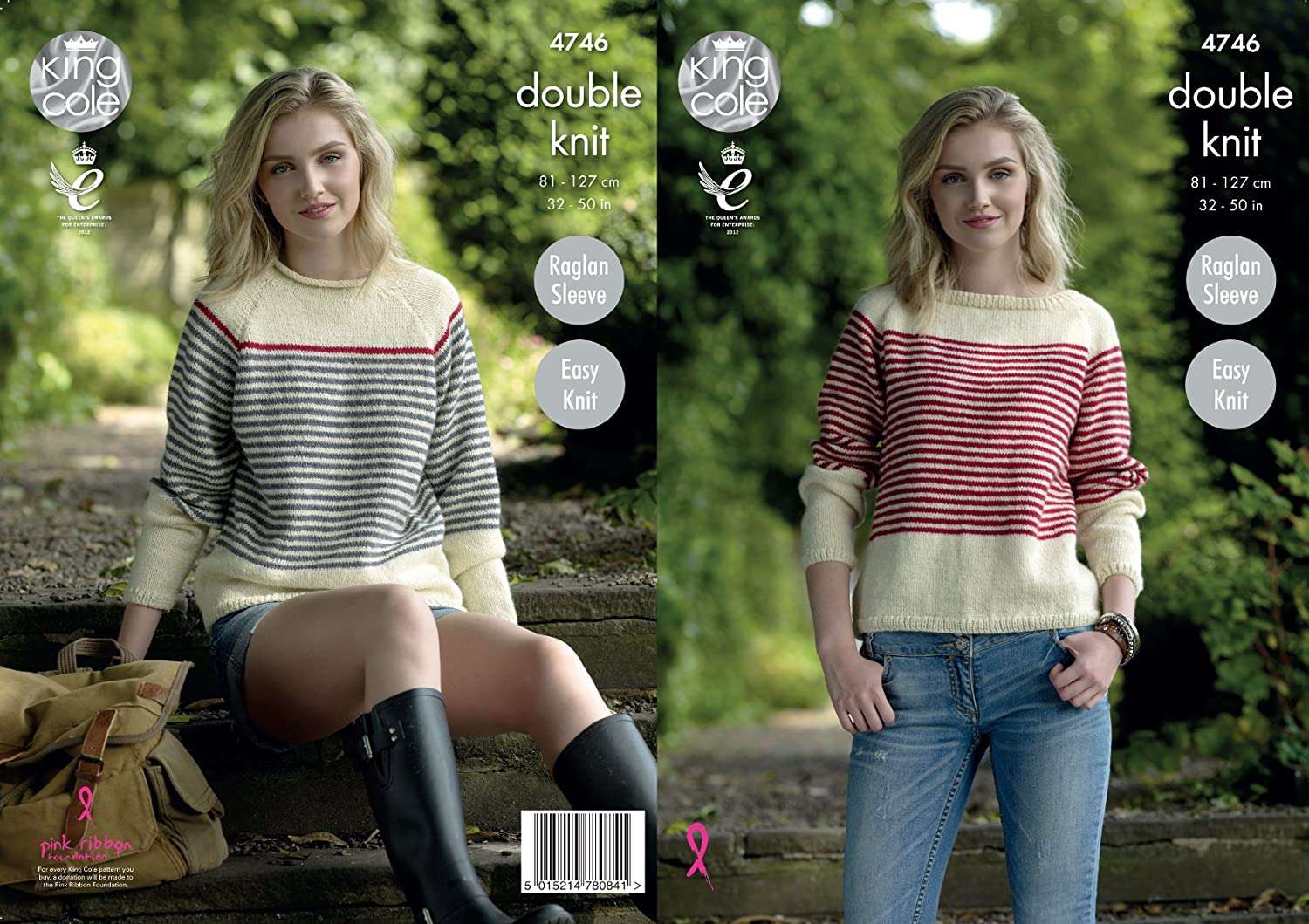 dd5ab09a2a37 Amazon.com  King Cole Ladies Double Knitting Pattern Womens Easy Knit High  or Boat Neck Sweaters (4746)  Home   Kitchen