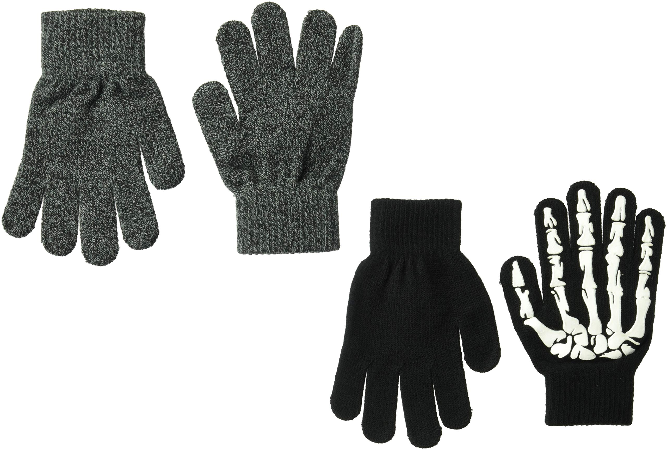 The Children's Place Big Boys' 2 Pack Cold Weather Gloves, Black, NO_Size
