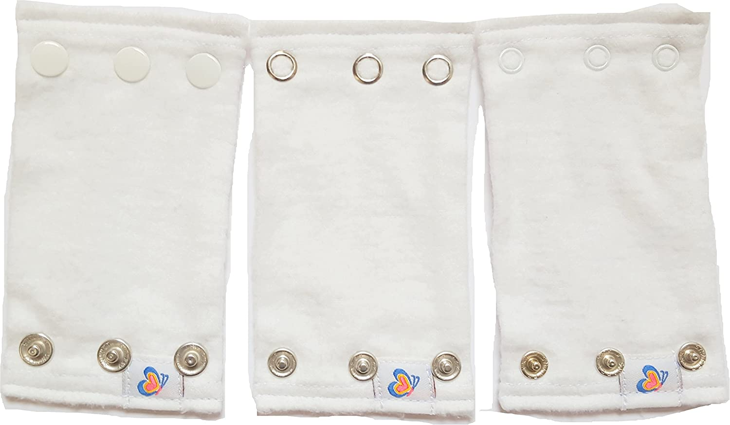Bodysuit Extenders Pack of 3, White, 3 Different Size Snaps W6Wh3