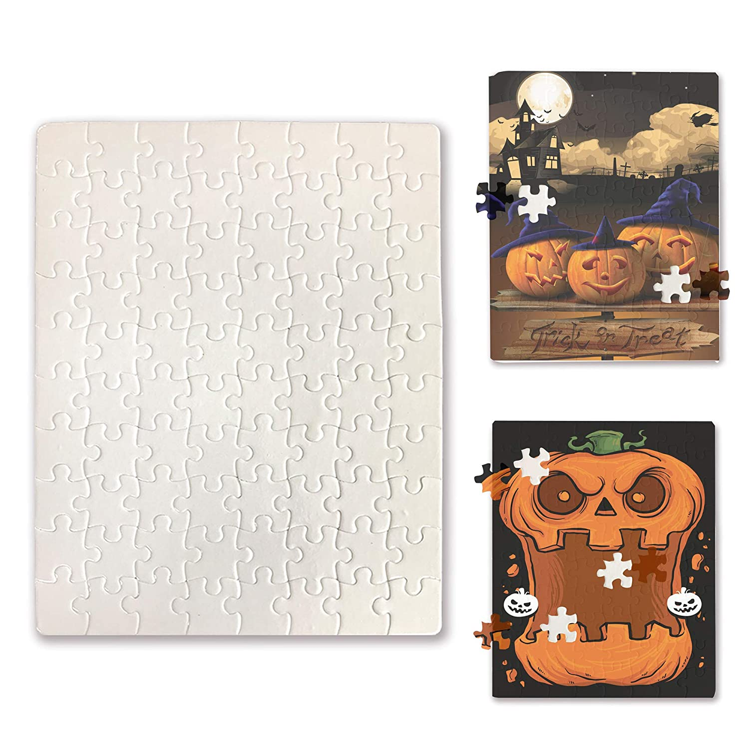 Blank White DIY Custom Jigsaw Puzzle 80-Pieces 6 Puzzles Per Package for Sublimation Blanks Heat Press Bosstop Make Your Own Halloween Puzzles