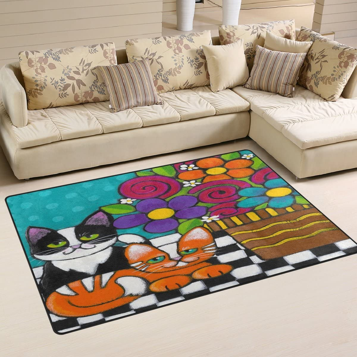WOZO Hipster Cat Kitten Floral Print Area Rug Rugs Non-Slip Floor Mat Doormats for Living Room Bedroom 60 x 39 inches