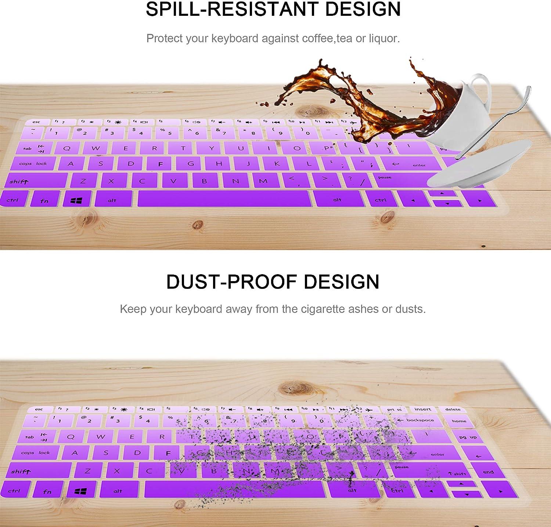 HP Stream 14 Inch Laptop Keyboard Cover Skin for HP Stream 14-ax Series,14 inch HP Pavilion 14-ab 14-ac 14-ad 14-al 14-an Series,14-ab010 14-ab166us 14-ac159nr 14-al062nr Gradualpurple+clear 2 pack