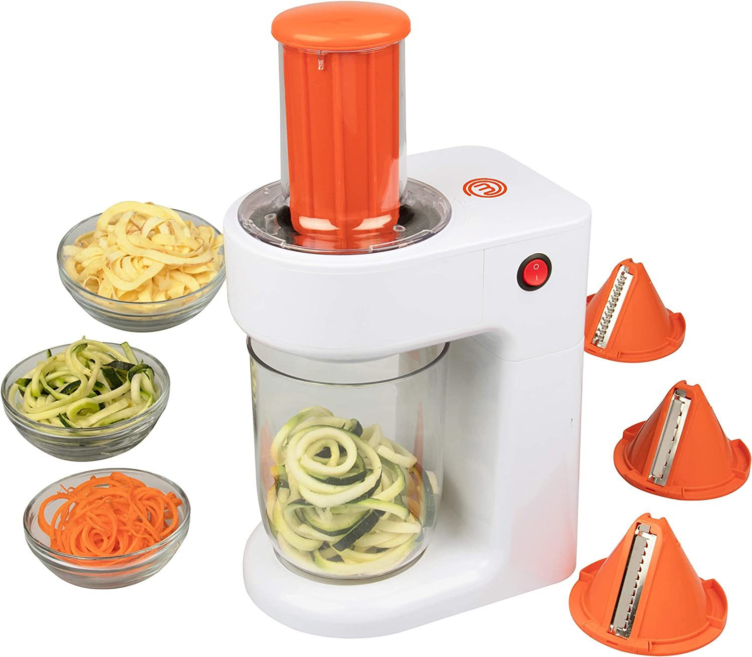 MasterChef Electric Spiralizer- 3-in-1 Vegetable Noodle Pasta Maker w 3 Different Zoodle Slicing Styles and XL Hopper- FREE Recipe Guide