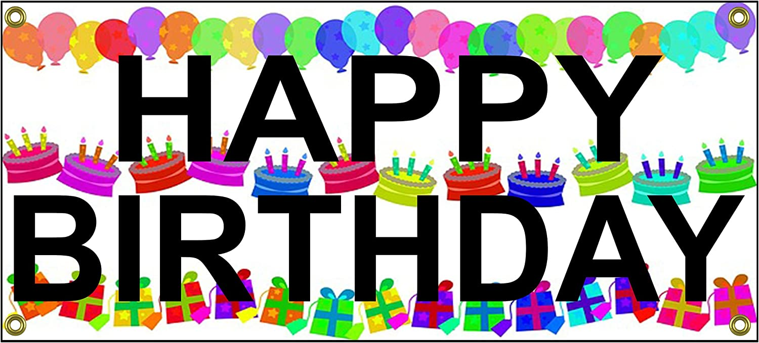"""Happy Birthday Banner Home Sign 36"""" by 15"""" B-Day Surprise Home Office"""