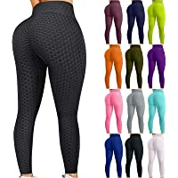 ZBTOP Women Gym Yoga Pants Butt Lifting Scrunch Booty Leggings Anti Cellulite Textured-Women's Bubble Hip Fitness Tights…