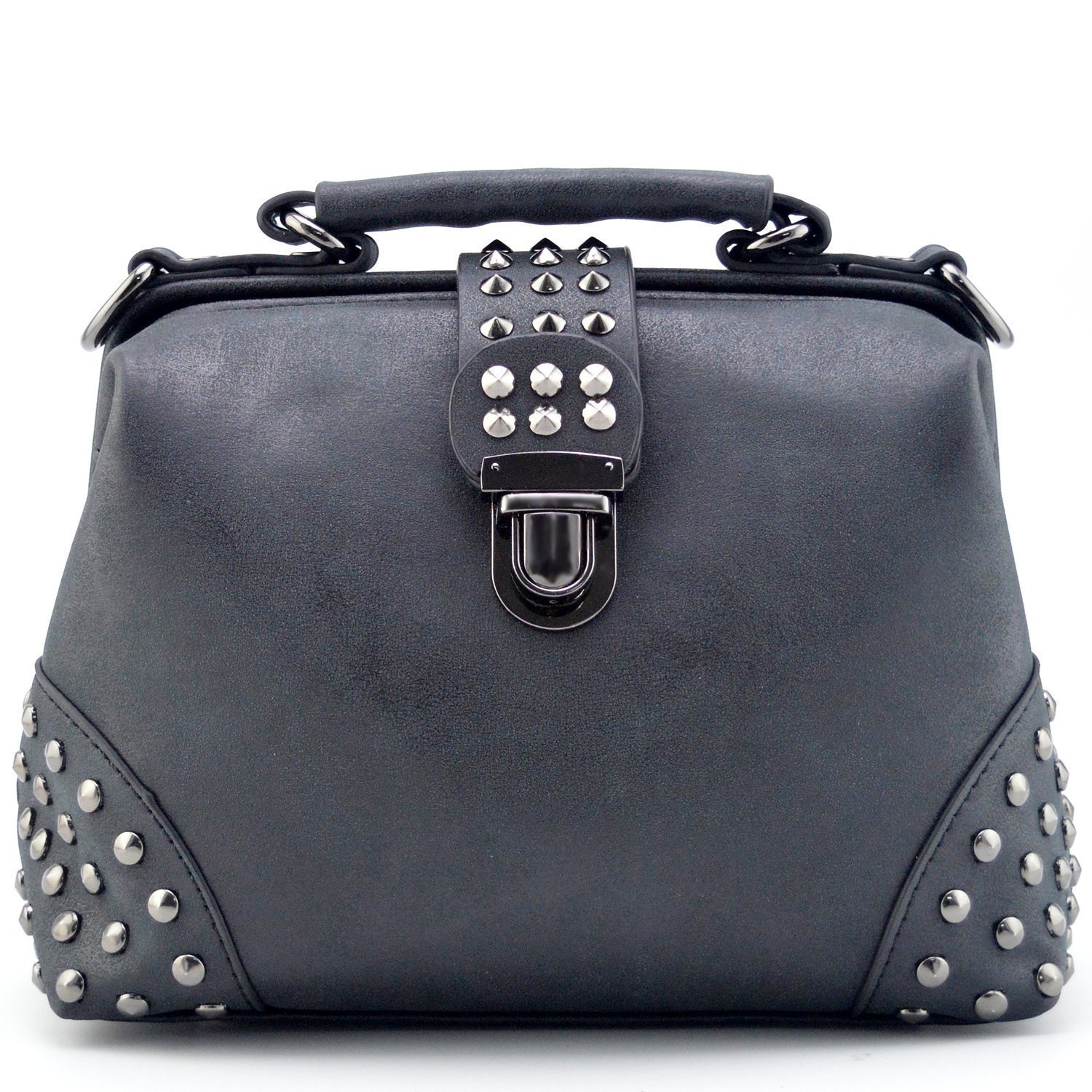 1931ffe44943 Mn&Sue Gothic Rivet Studded Vintage Doctor Style Purse Shoulder Cross Body  Bag Women Top Handle Handbag