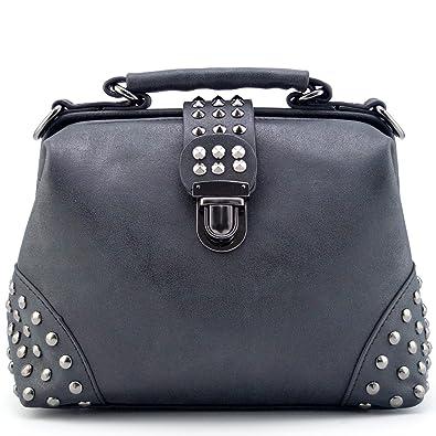 abd27ae40b5 Mn Sue Gothic Rivet Studded Vintage Doctor Style Purse Shoulder Cross Body  Bag Women Top Handle Handbag