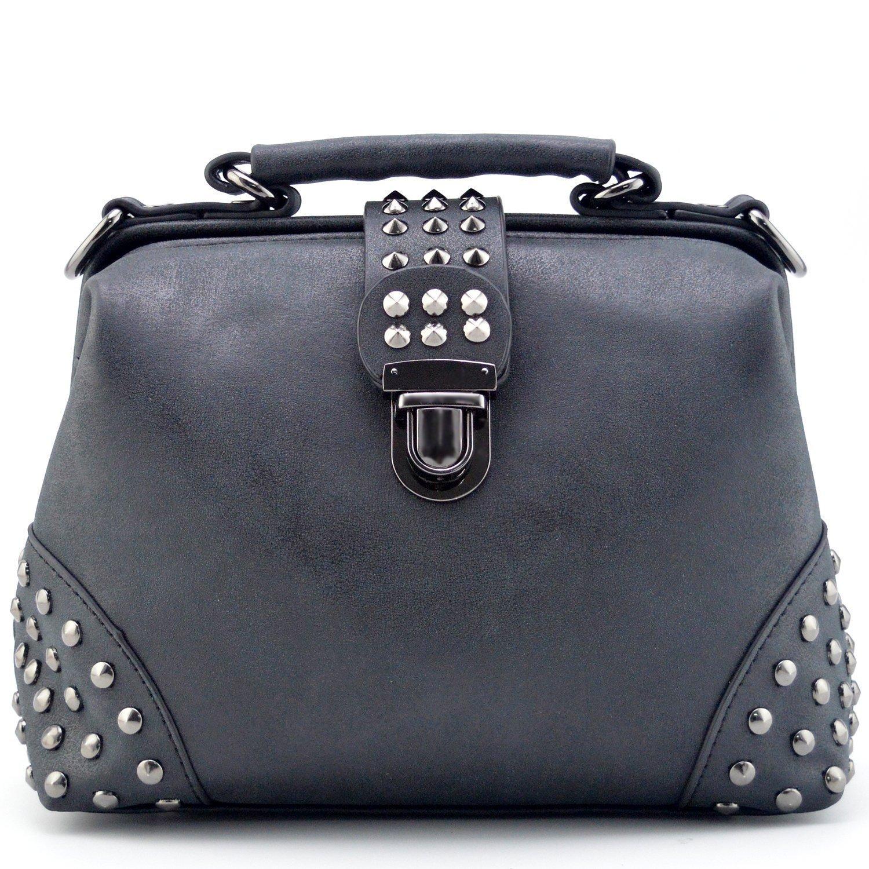 Mn&Sue Gothic Rivet Studded Vintage Doctor Style Purse Shoulder Cross Body Bag Women Top Handle Handbag