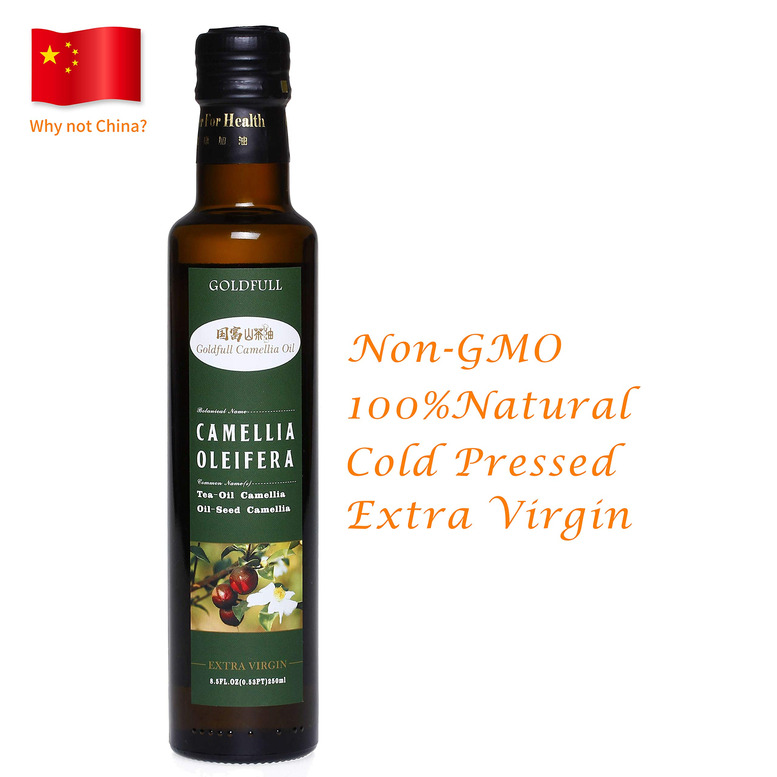 Goldfull Camellia Oil,Tea Seed Oil,Camellia Seed Oil, Cold Pressed Extra Virgin Cooking Oil,Camellia Oleifera Oil, Chinese Olive Oil, Natural Flavor, Current Harvest,250ml by Goldfull Camellia Oil
