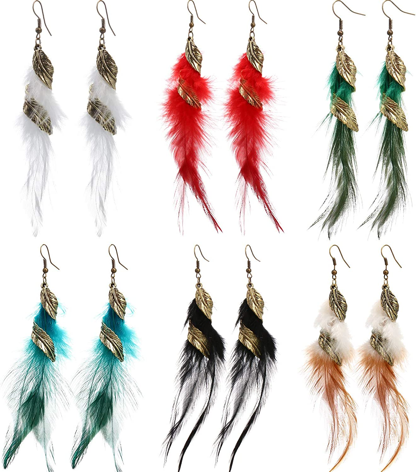 Colorful Bohemian Feather Dangle Drop Earring Gifts for Women Girls Jewelry000001000634