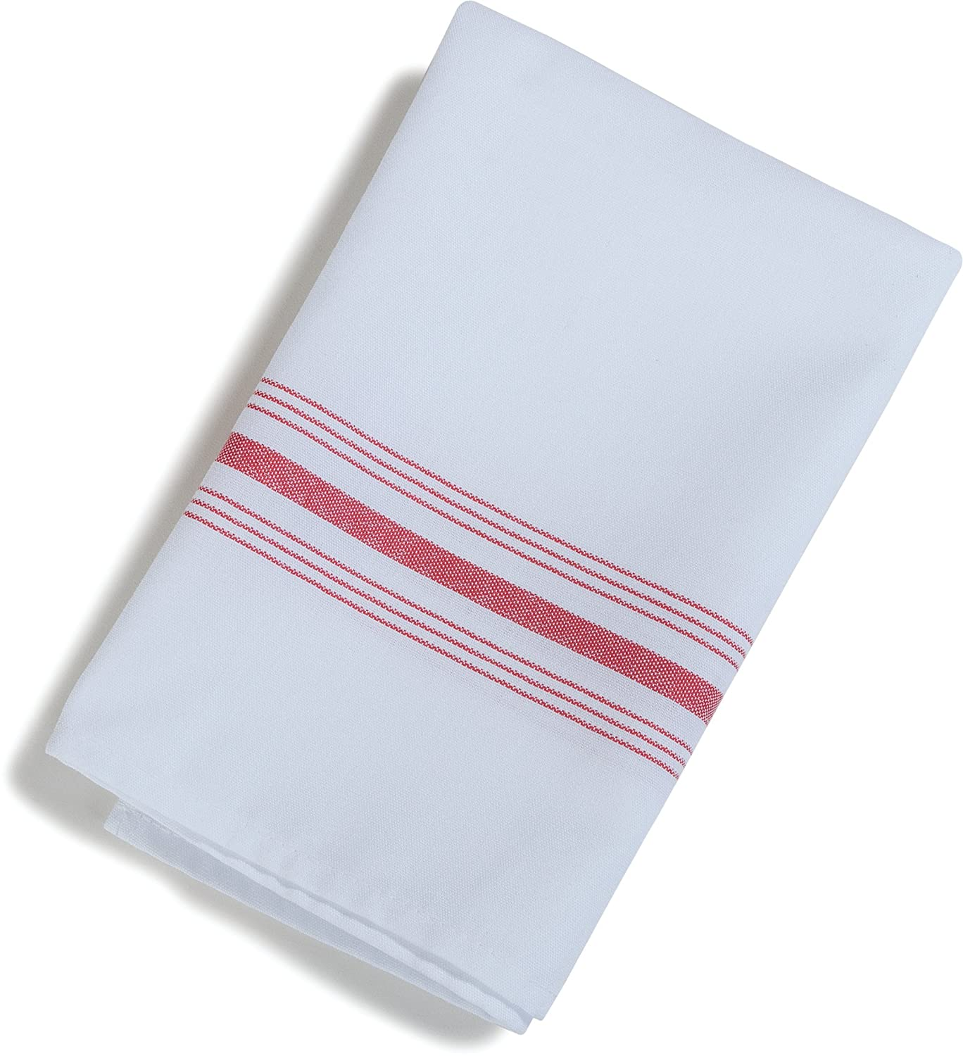 Christmas Tablescape Décor - Red & white stripe restaurant quality polyester bistro dinner napkins - Set of 12