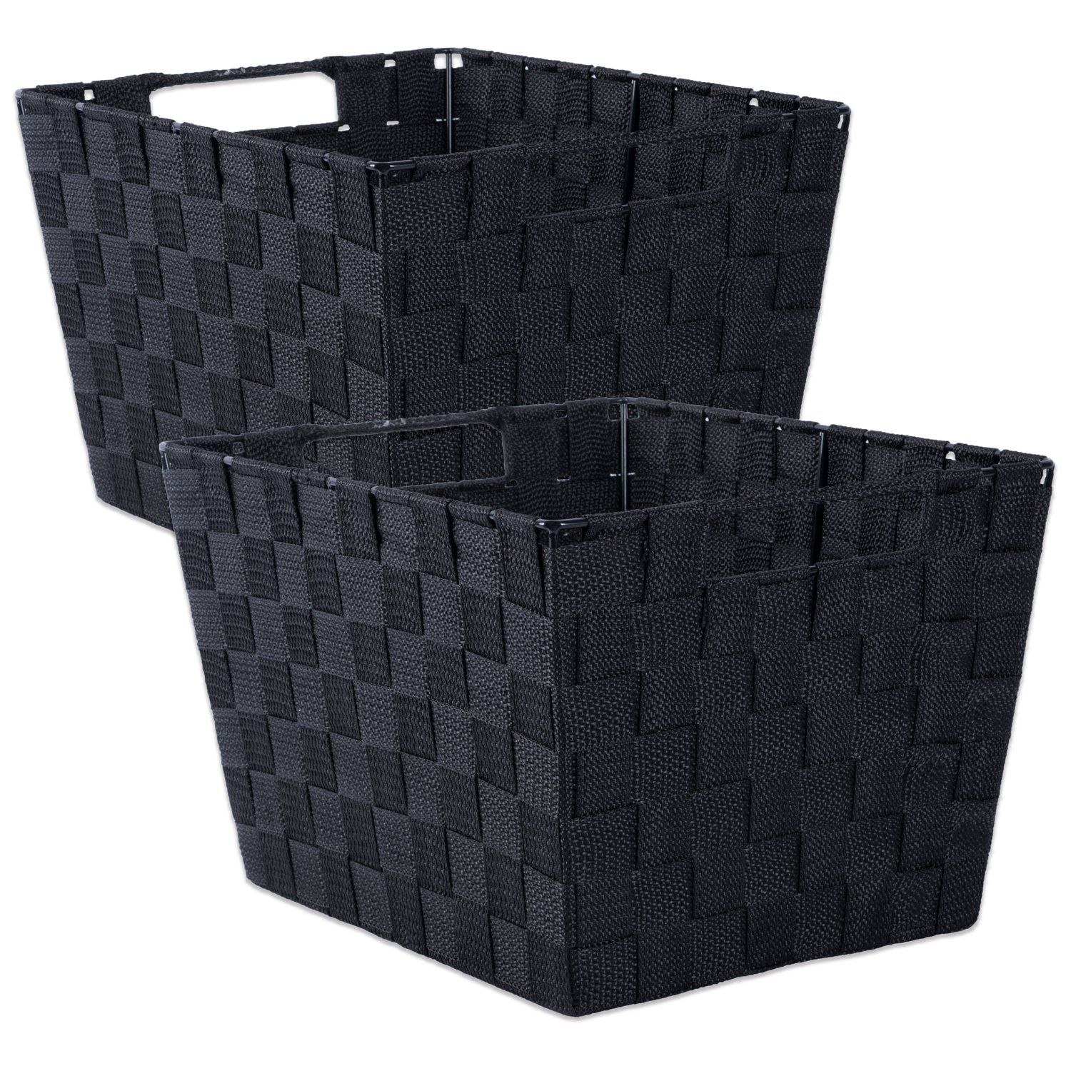 DII Durable Trapezoid Woven Nylon Storage Bin or Basket for Organizing Your Home, Office, or Closets (Large Basket - 13x15x10'') Black - Set of 2