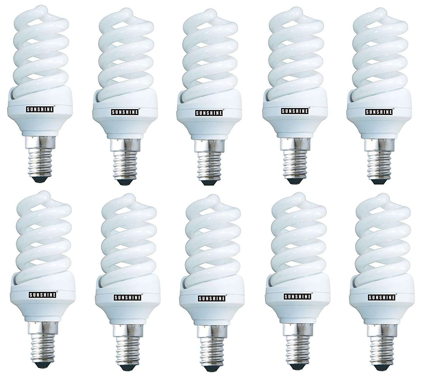 SUNSHINE Energy Saving Lamp 20W E14 Small Edison Screw CFL FULL Spiral Lightbulb - Day Light, Milky (95W Equivalent), Pack of 10