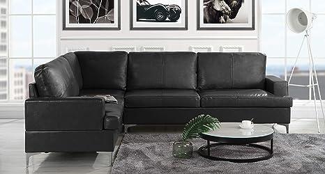 Amazon.com: Sofá tapizado de piel seccional de 103.9 ...