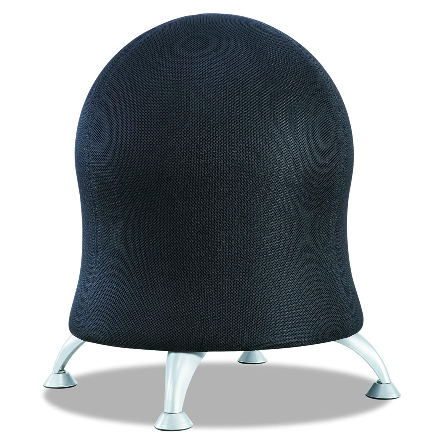 Safco Products Zenergy Ball Chair 4750BL, Black, Low Profile, Active Seating, Steel Legs