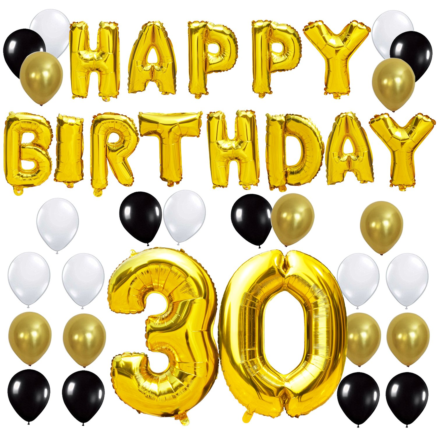 "KUNGYO 30TH Birthday Party Decorations Kit - Happy Birthday Balloon Banner, Number ""30"" Balloon Mylar Foil, Black Gold White Latex Ballon, Perfect 30 Years Old Party Supplies"