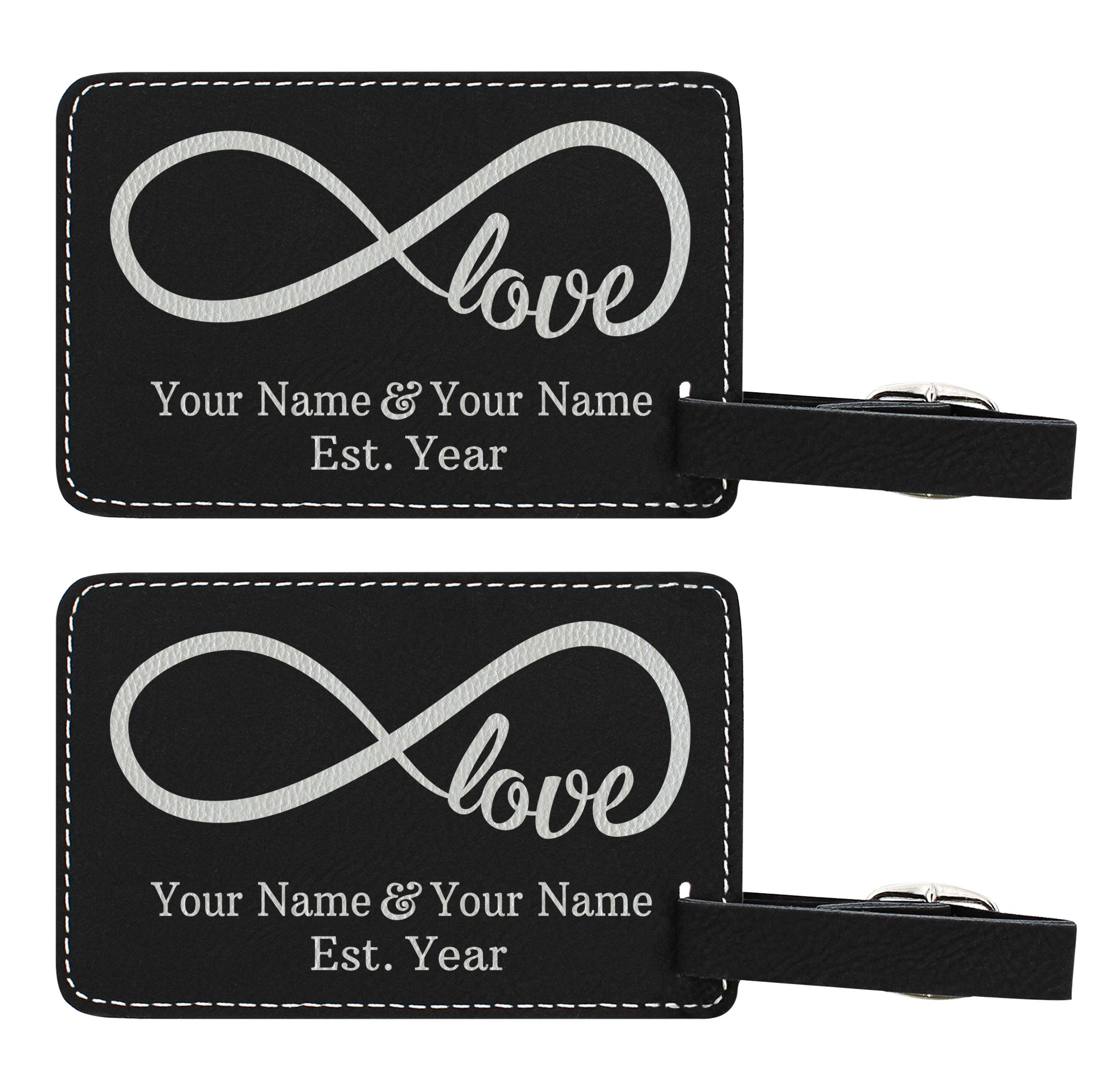 Personalized Wedding Anniversary Gifts Custom Names & Date Infinite Love Personalized Wedding Gifts Personalized 2-pack Laser Engraved Leather Luggage Tags Black