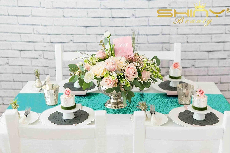 r/éception Chemin de cas bridalwedding shinybeauty 30,5/x 182,9/cm Rose fuchsia Chemin de table /à sequins paillette m/étallique Paillettes Chemin de Table pour f/êtes de mariage