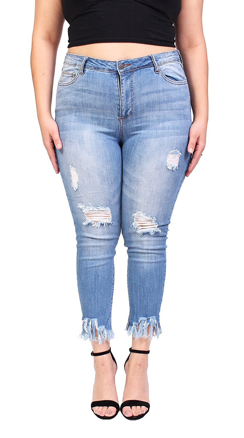 Cello Jeans Women Plus Size Middle Rise Distressed Cropped Skinny Jeans With Super Fray Hem